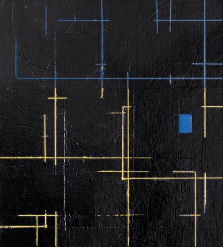 "Blue & Yellow  Acrylic on Hardboard  14"" x 13""  2001"