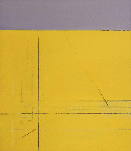 "Gray & Yellow  Acrylic on Hardboard  15"" x 13""  2001"