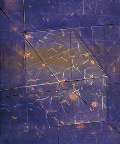 "Glass Case  Acrylic on Hardboard  14"" x 12""  2001"
