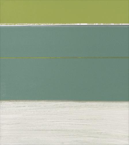 "Greens & White  Acrylic on Hardboard  14"" x 13""  2001"
