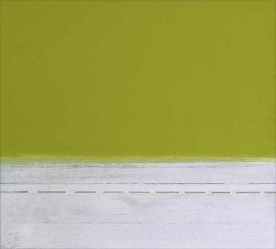 "Green & White  Acrylic on Hardboard  12.5"" x 14""  2001"