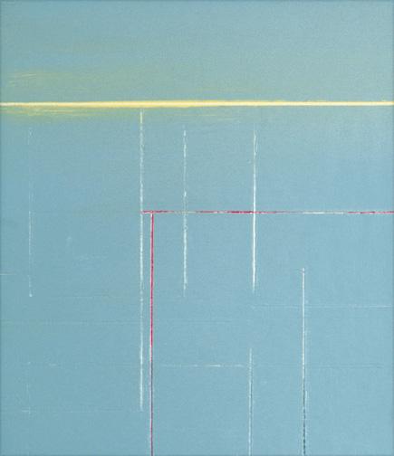 "Soft Blue  Acrylic on Hardboard  14"" x 12""  2001"