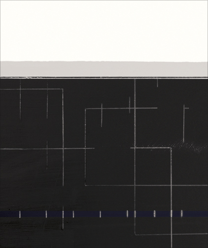 "White, Gray, Black  Acrylic on Hardboard  14.5"" x 12.5""  2001"