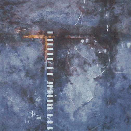 "Ladder  Acrylic and mixed media on canvas  36"" x 36""  1996"