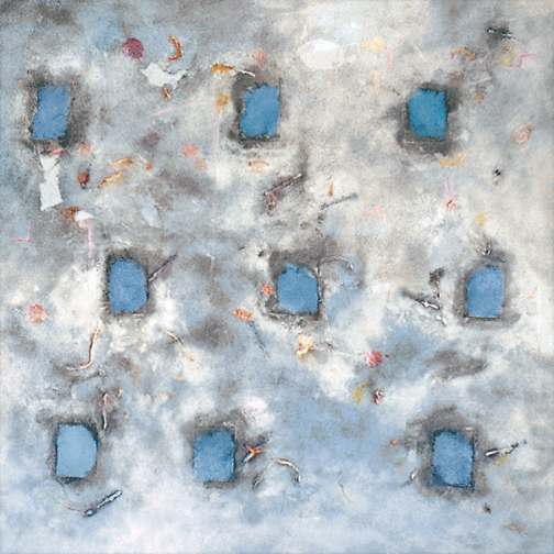 "Nine Blue  Acrylic and mixed media on canvas  36"" x 36""  1996"