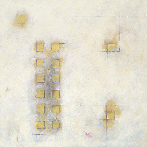 "White Squares  Acrylic and mixed media on canvas  36"" x 36""  1996"