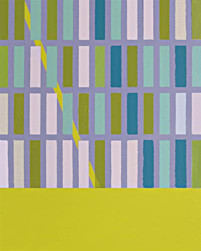 """Diagonal Yellow  Acrylic on Hardboard  20"""" x 16""""  2003"""