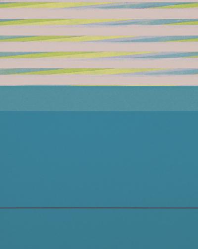 "Diagonal Blue  Acrylic on Hardboard  20"" x 16""  2004"
