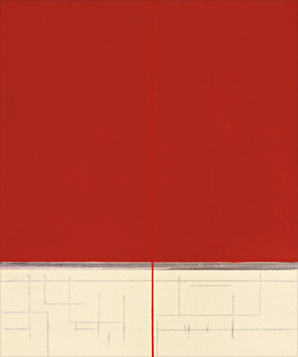 "Red & Cream  Acrylic on Canvas  34"" x 28""  2004"