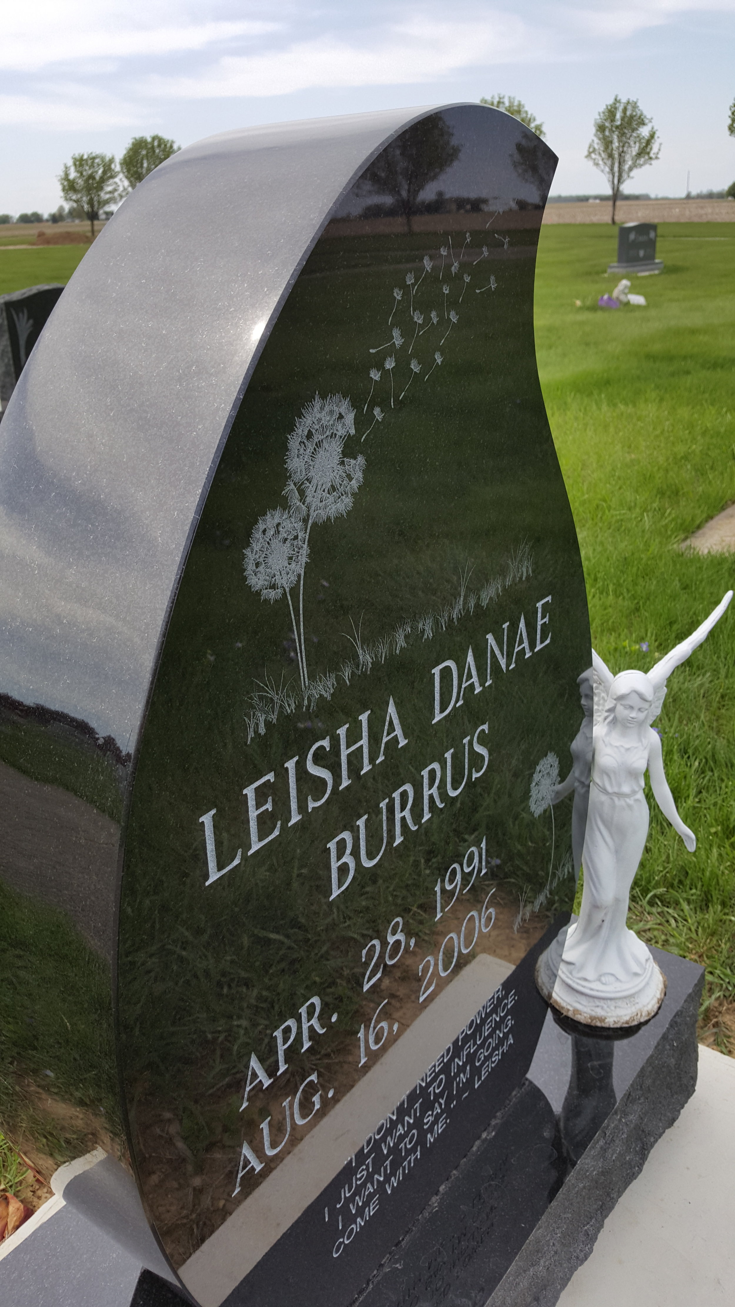 If you look closely, beyond Leisha's stone - and the stone setting off in the distance is a small angel surrounded by purple flowers. That is the resting place of Sarah Ginther, Leisha's mentor, counselor and friend who died in December 2013. The world is a better place because both of these girls lived!