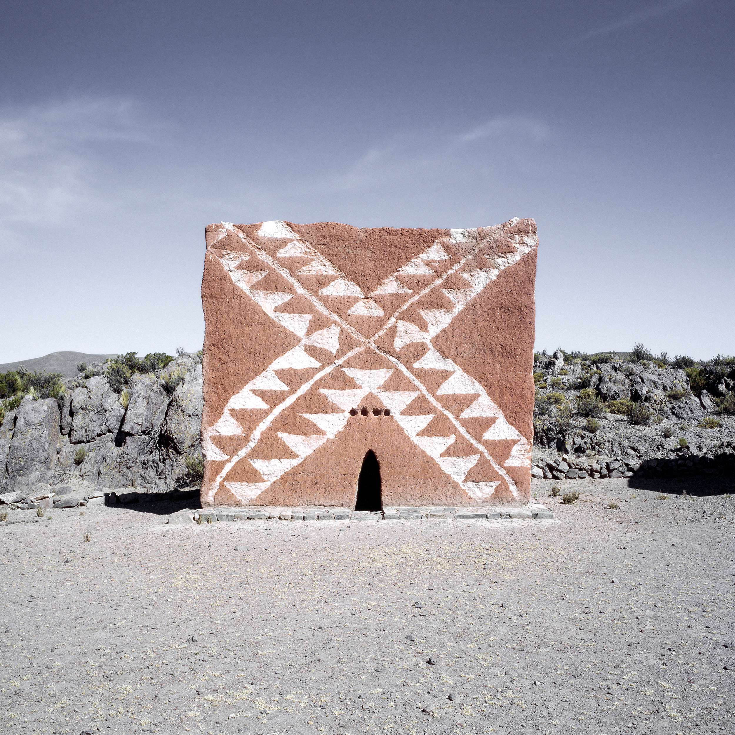 Towards the Reborn Sun       A typology of the ancient Aymara funeral towers originally built for nobles and their families. Found across the Altiplano in Peru and Bolivia, all of the chullpas have small openings facing east, towards the rising sun.