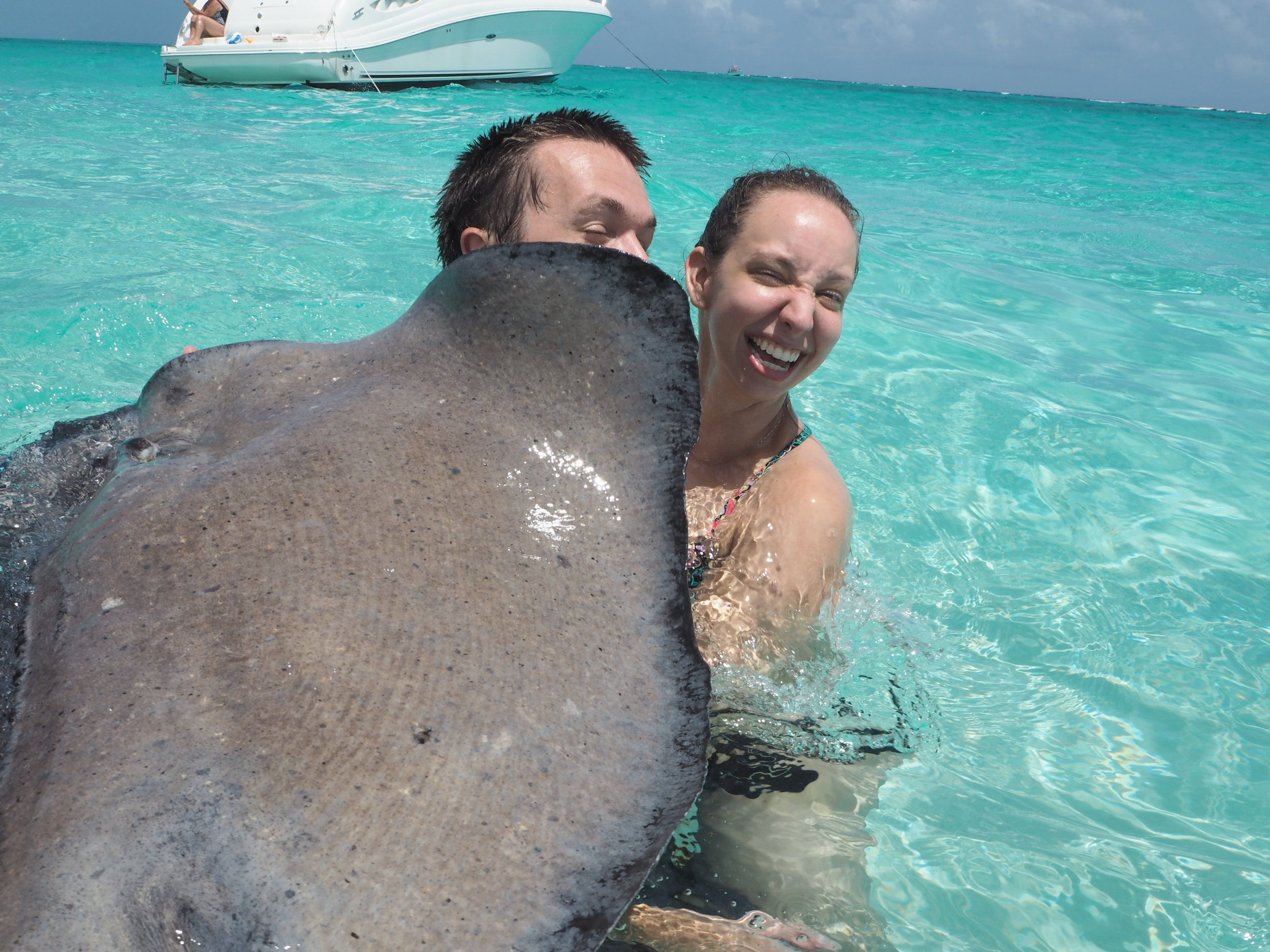 Up close and personal with a stingray at Stingray City in Grand Cayman