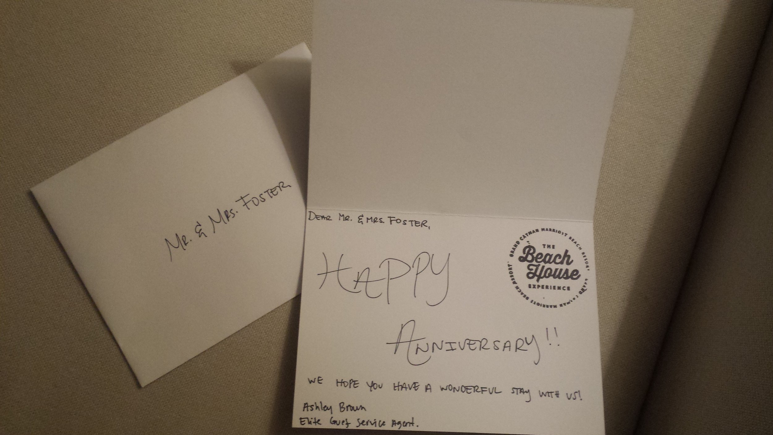 The hotel left us a lovely note upon our arrival as they knew it was our wedding anniversary