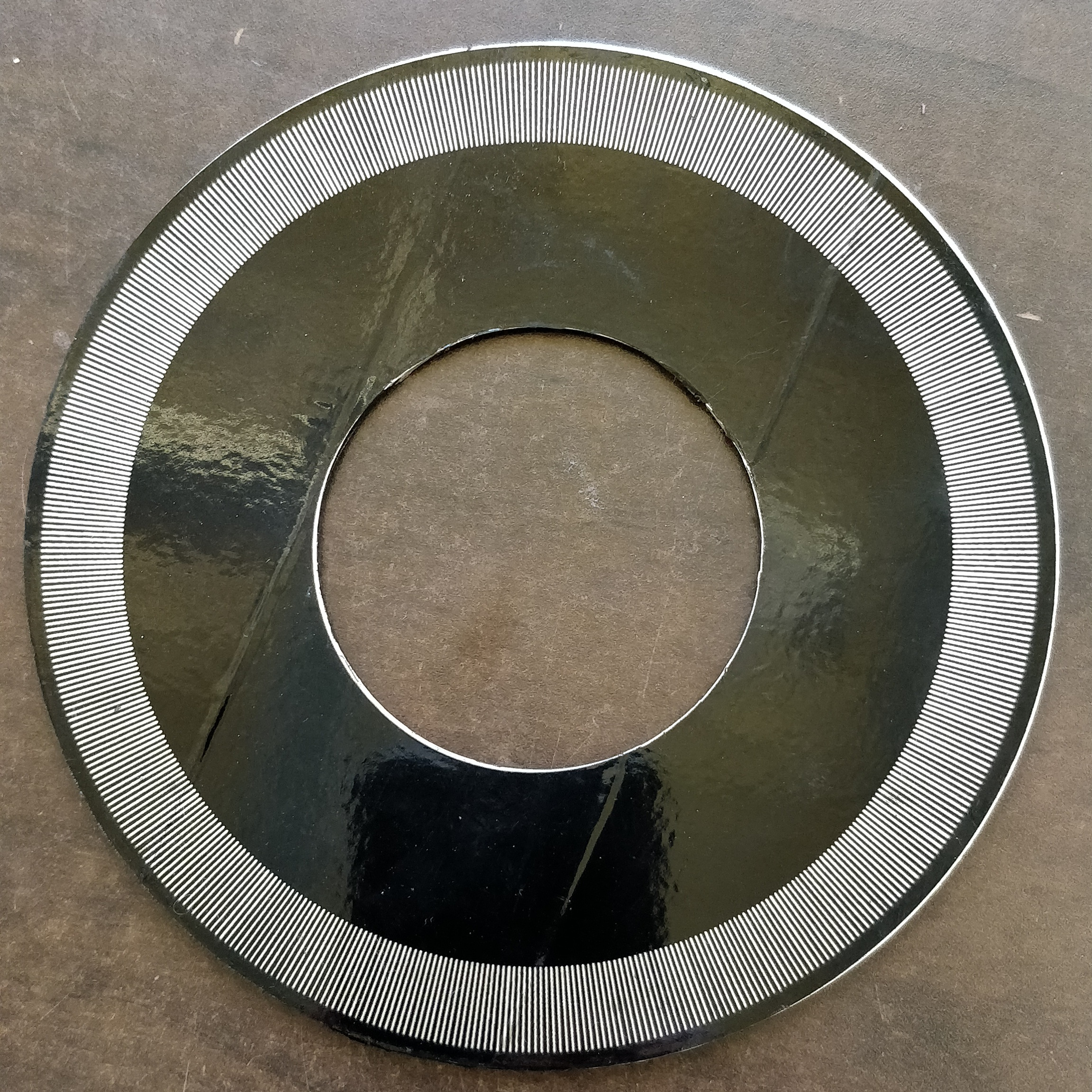 Encoder Disk #3: Acrylic wrapped in aluminum tape and vinyl laser etched