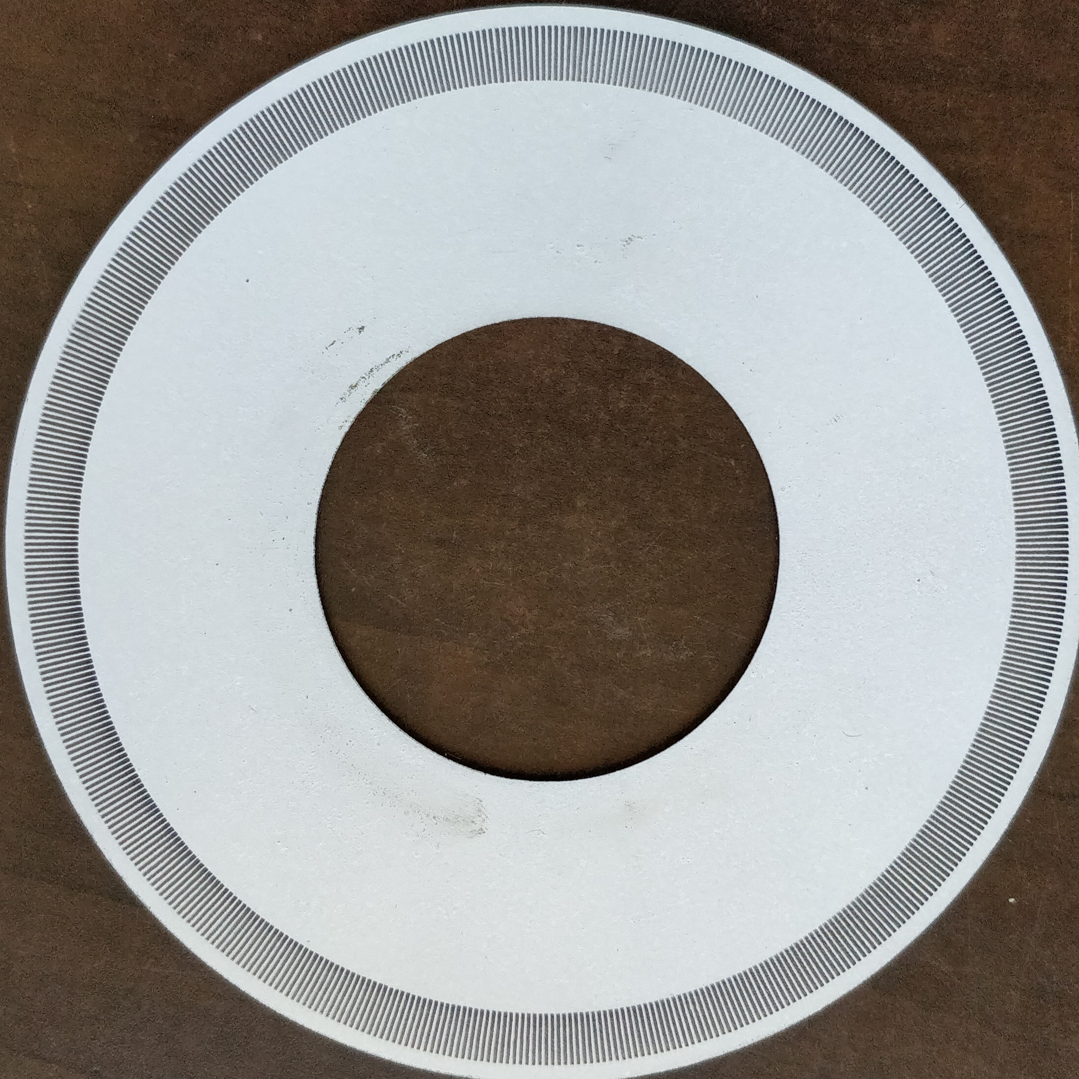 Encoder Disk #1: Acrylic painted white and laser etched