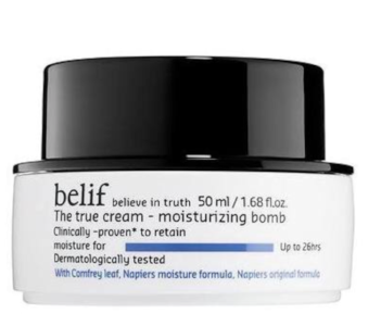 my current daily moisturizer, by belif; this moisture bomb is so hydrating!