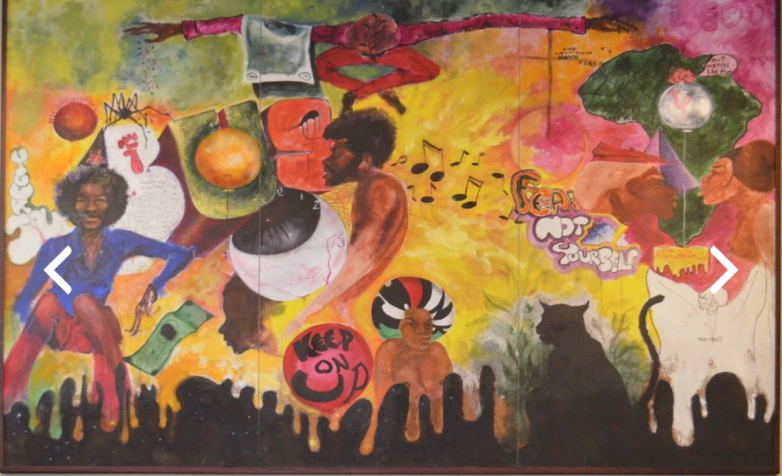 An Ernie Pryor original painting dedicated to the Black United Students@ Kent State University.  One of a series of murals covering the walls of the Center of Pan-Africa Culture at Kent State University's Oscar Ritchie Hall.