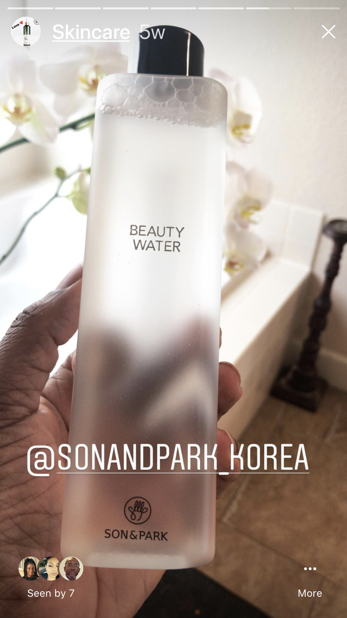"Here is another view.  ""SON & PARK""  The name is perfect, ""BEAUTY WATER"".  I hope that you all go and get one.  Sephora gives out samples.  If you already use micellar waters you may appreciate this one.   Sephora makeup artist uses  ""BEAUTY WATER"" while demonstrating make-overs.  That is how I discovered this brand."
