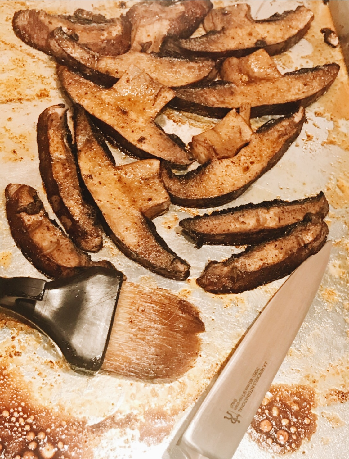 Portobello Mushrooms on a cookie sheet placed in my oven. Great idea for the grill too!