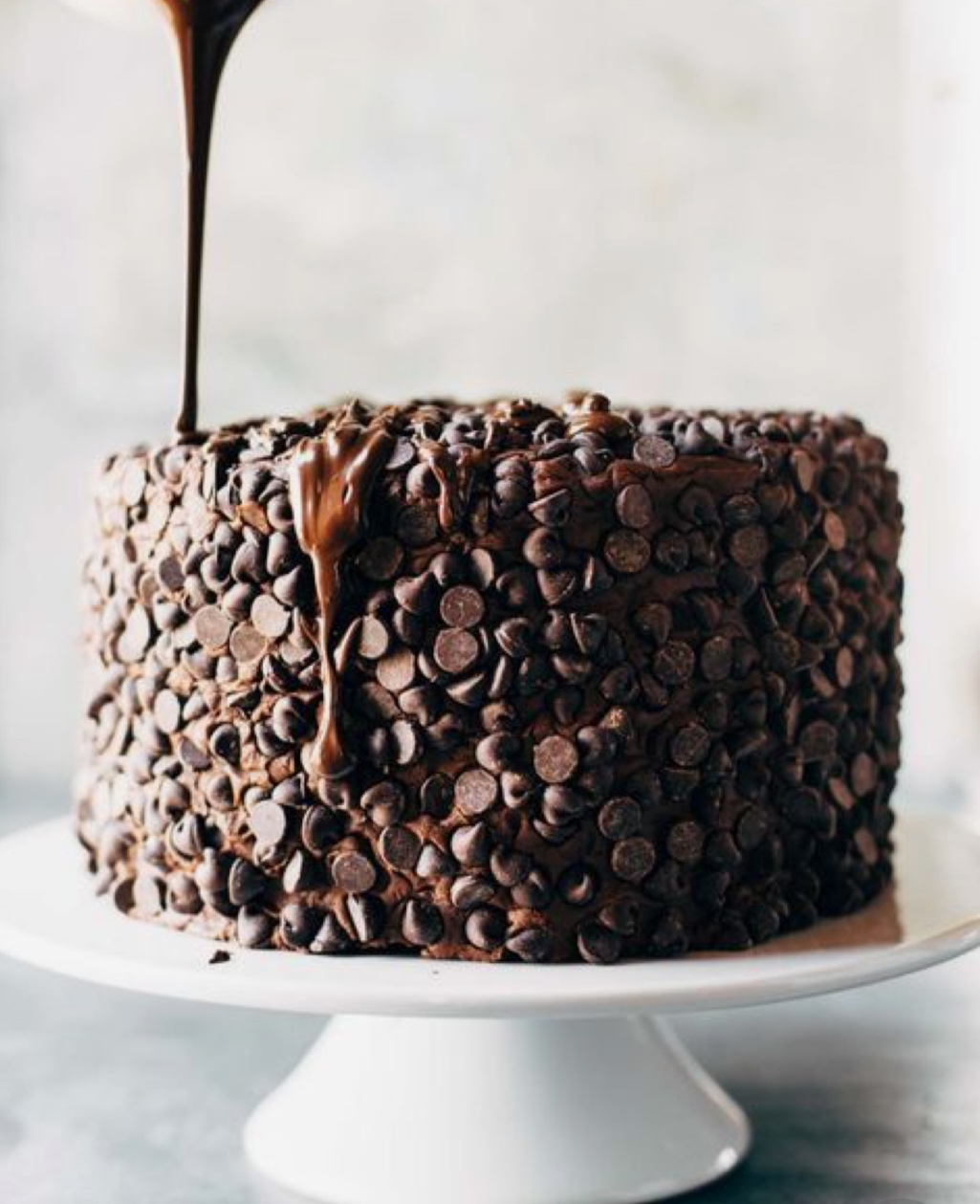 This cake is so easy to make…  Make whatever cake of your choice, add frosting and load on the chocolate chips.