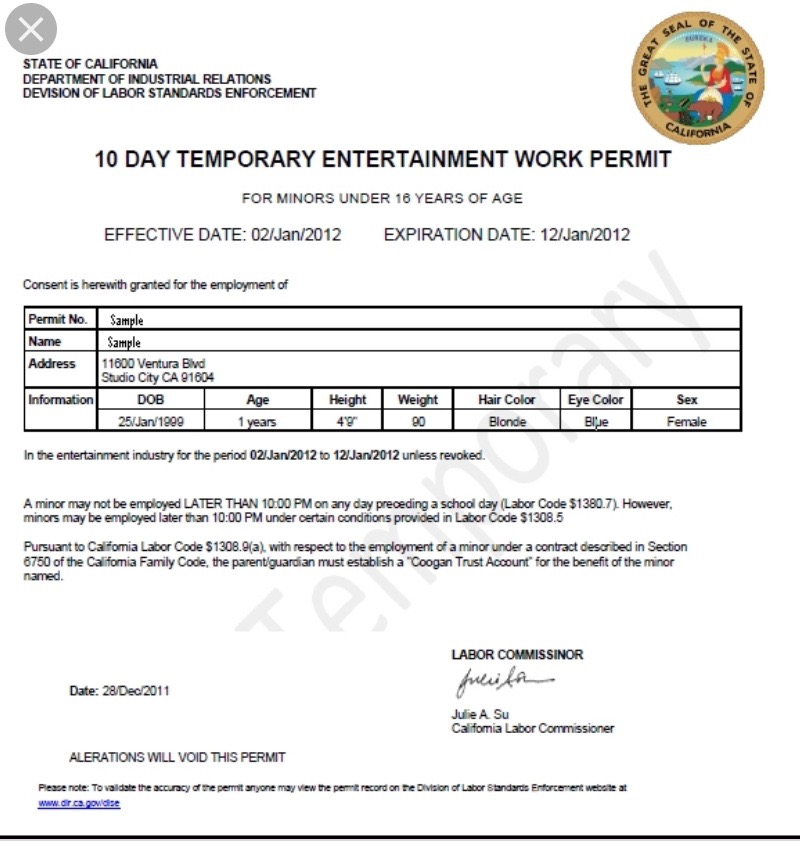 Work Permits for kids in the Entertainment Industry look like this from California…