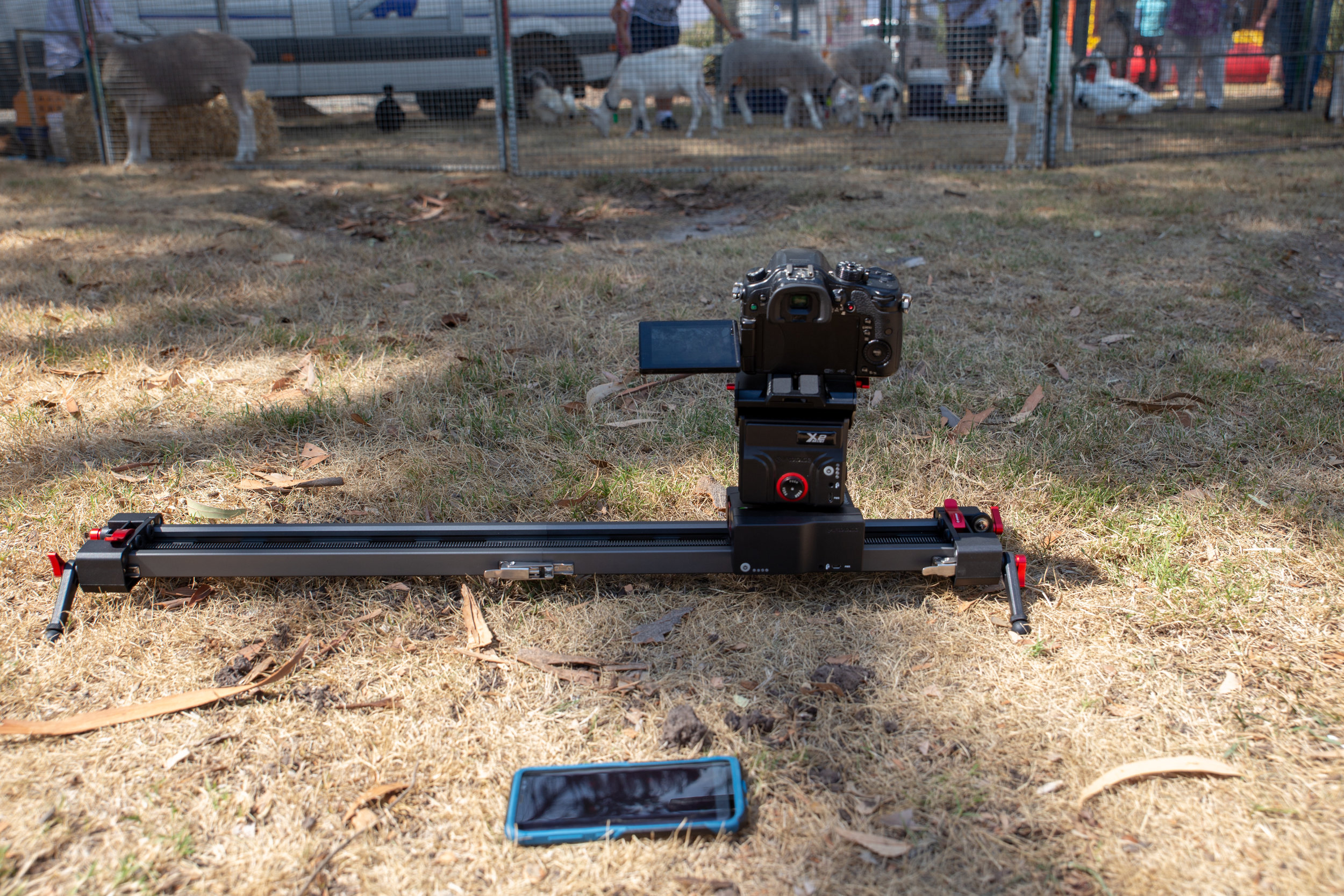 The iFootage Shark Slider mini with motion control module, using the Panasonic GH4 with a 12-35mm F2.8 lens