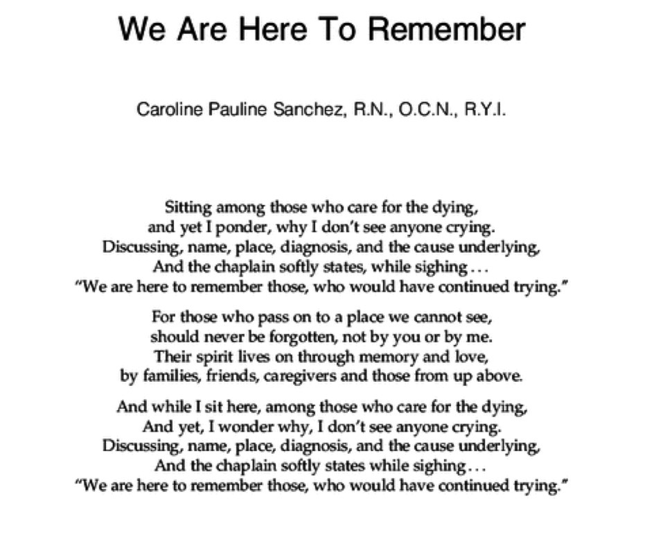 Published Poem in the Journal of Palliative Medicine - Caroline's first published poem in the Journal of Palliative Medicine.