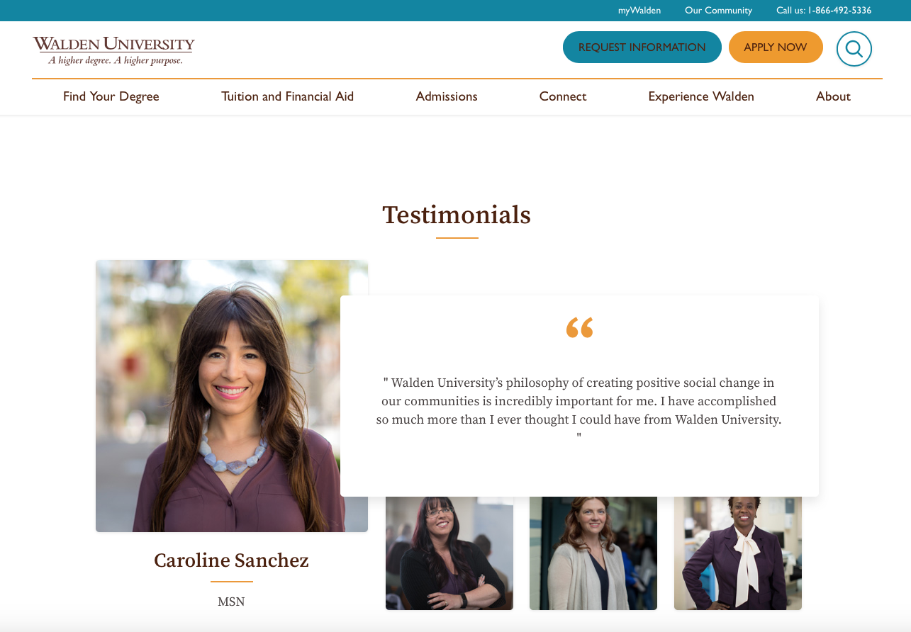 Walden University MSN - Walden University's philosophy of creating positive social change in our communities is incredibly important for me. I have accomplished so much more than I ever thought I could have from Walden University.