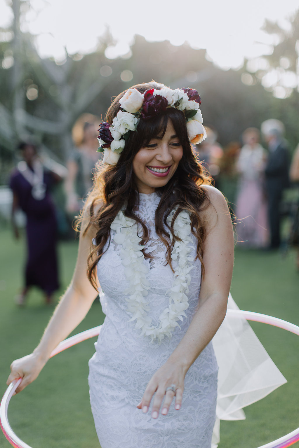 The Hula Hoop Girl is The Hula Hooping Bride! - The Hula Hoop Girl (Website,FB&@thehulahoopgirl) of Elemental Hoopdanceis a most beautiful hula hoop bride in this stunning photo from her recent wedding. Congratulations Caroline Cárdenas! She lives in La Jolla, California, USA. Photo by Cadencia Photography.