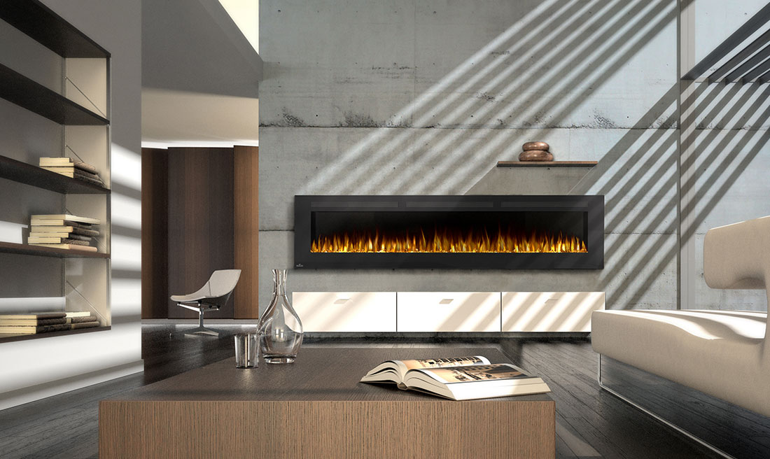 Modern Linear Gas Fireplace.