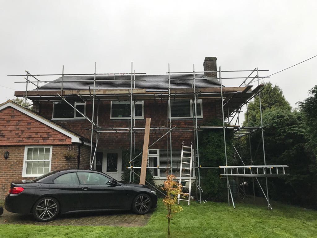 Scaffold erection for new roof