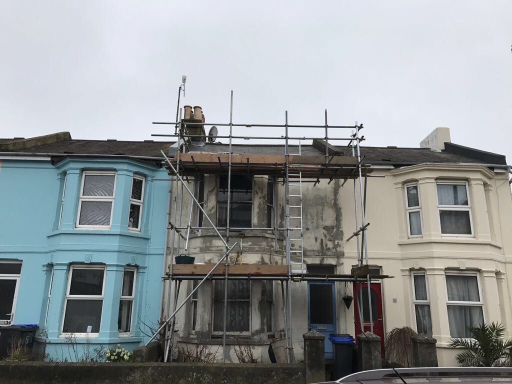 Scaffolding for new Sash windows and re-painting