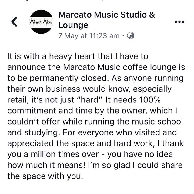 In case any of you don't follow Marcato Music on Facebook, unfortunately the café has had to close down. However, the music school is running as well as ever and we're looking for violin, flute and piano students!