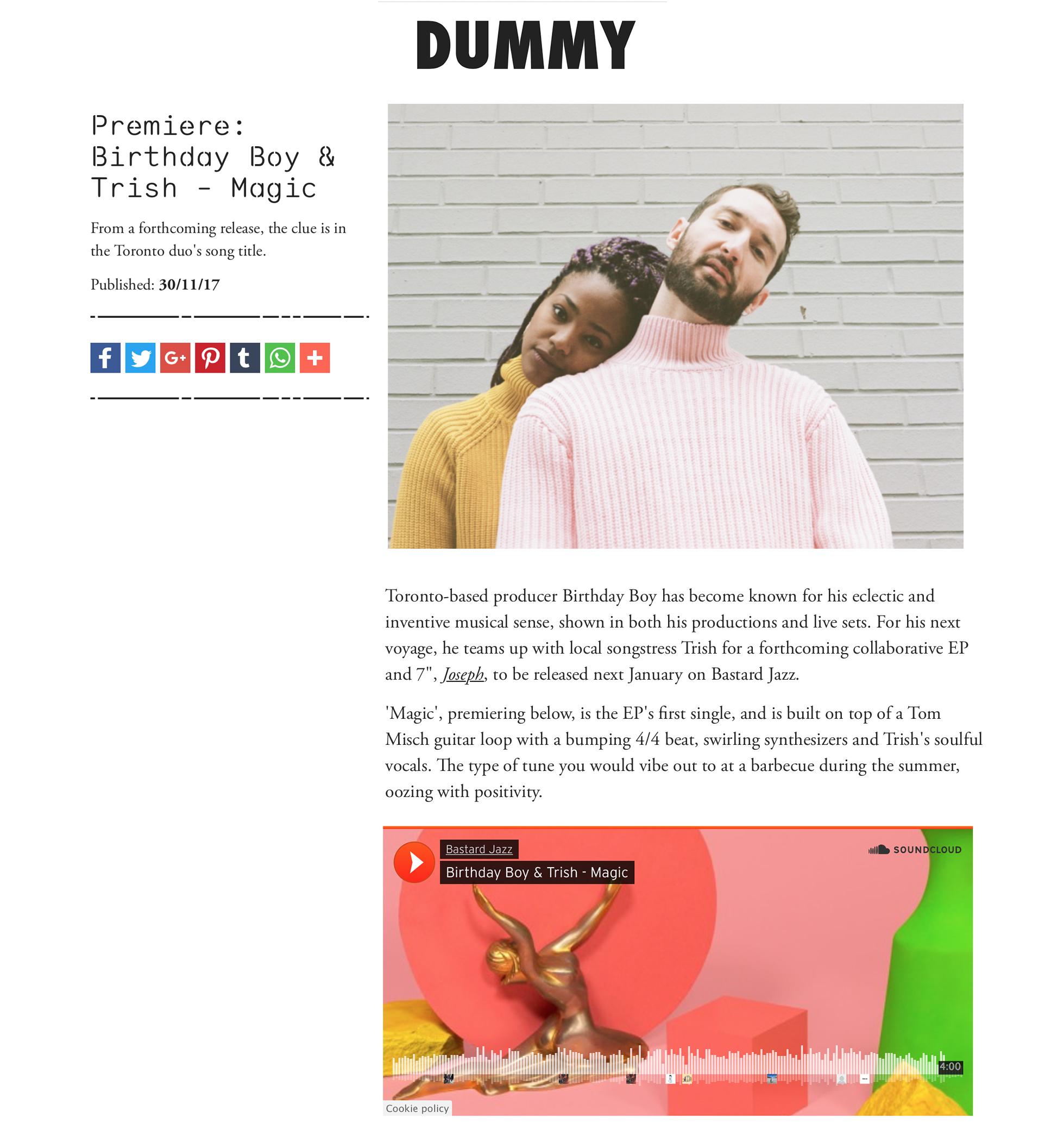 Dummy: Birthday Boy & Trish Dummy premiere