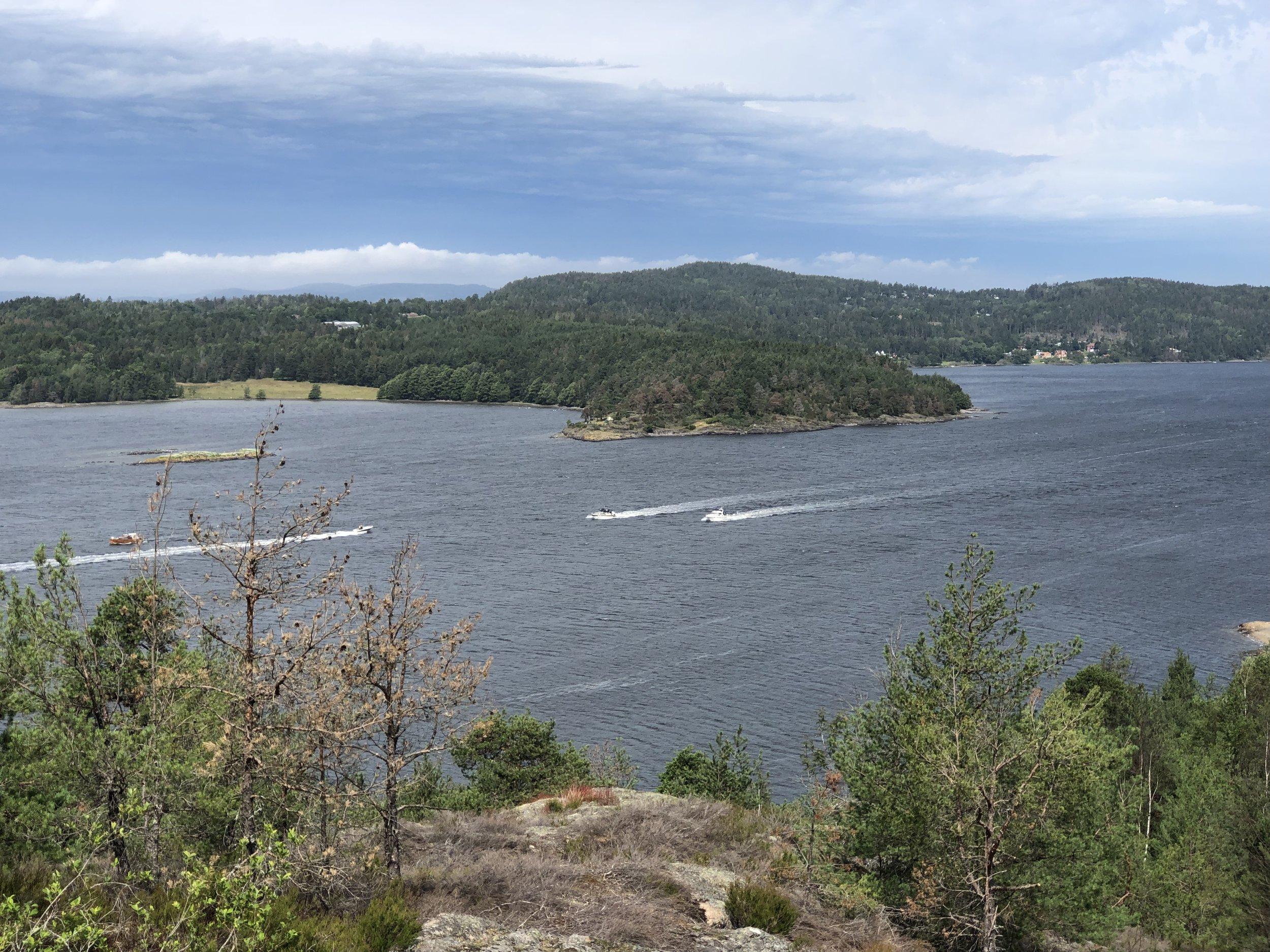 Betegnende for juni 2019: Båter på sjøen tross truende skyer, her sett fra Røysåsen