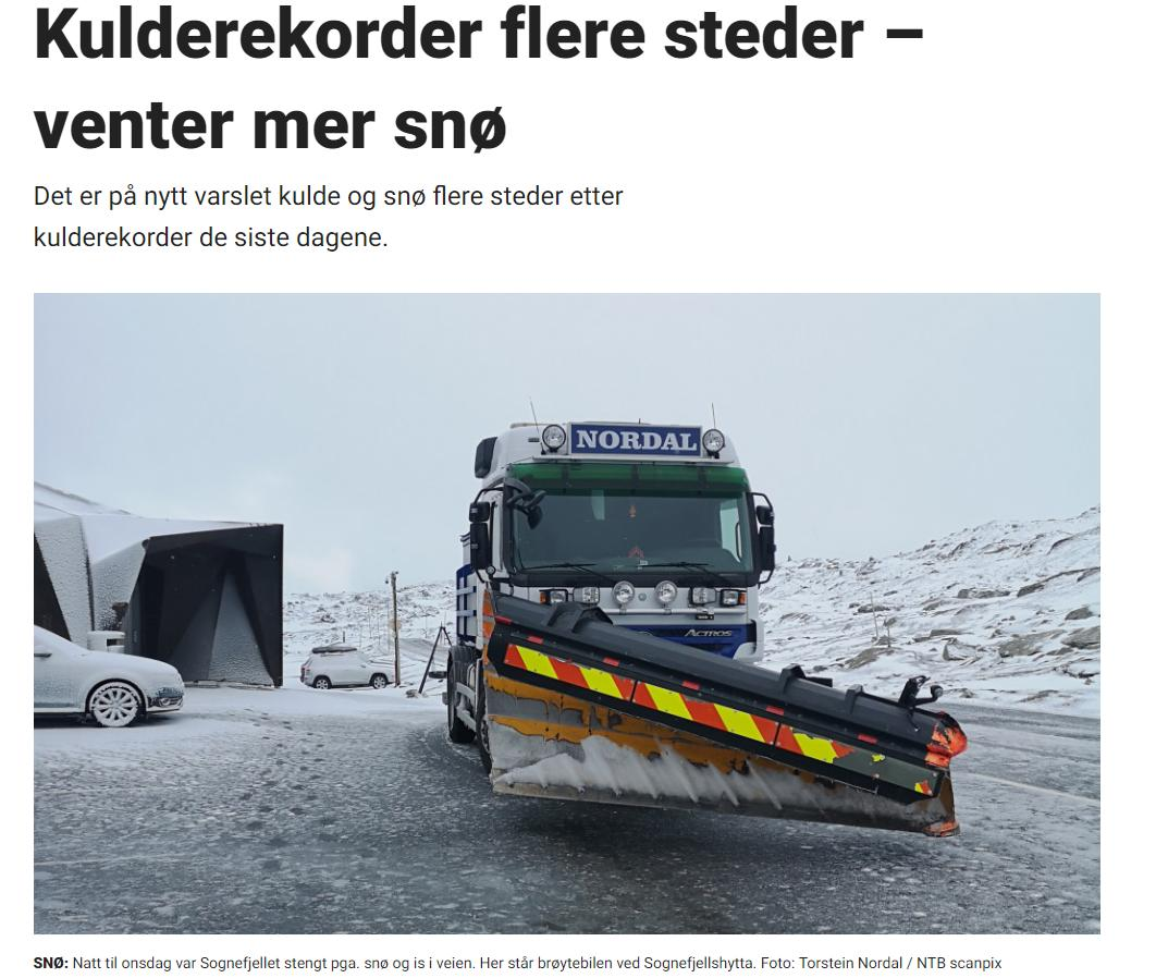 I Møre og Romsdal ble det målt -2,7 grader på fjellet Mannen natt til onsdag. Den forrige fylkesrekorden var -1,9 på samme sted i 2010, ifølge meteorologene. Og i Oppland ble det målt- 6,4 grader på Juvvasshøe, mens den forrige fylkesrekorden var Fokkstua med -5,3 i 1964, skriver Dagbladet 3.7.19.