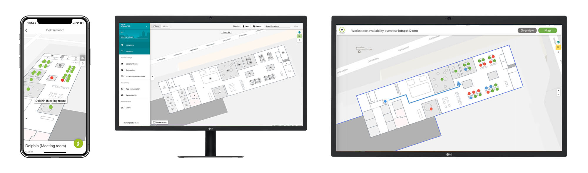 6. Map view of the office - This feature allows you to switch between the standard Gridview to the Map view of your offices in our App. With the help of Google Indoor Maps we can create an interactive map inclusive routing to all workplaces, meeting rooms and self manegable 'points of interest'.Annual price: €1,- per m2 office map.