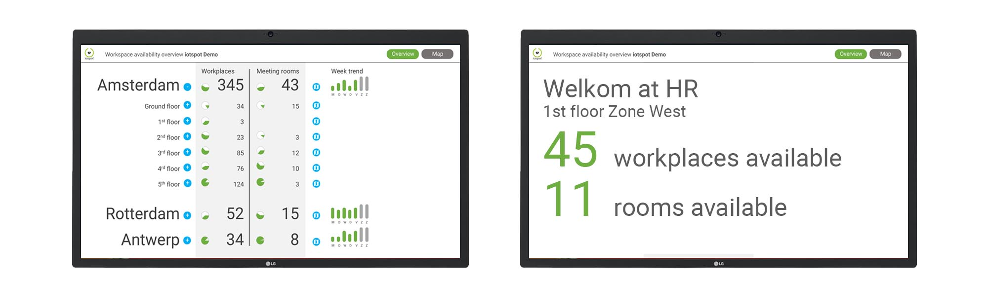 7. Reception and floor displays - Users can see at a glance if, where and what workstations are available. When Map view (feature 4) is used, you can switch between dashboard or office map.Annual price: €3,- per iotspot that is activated.