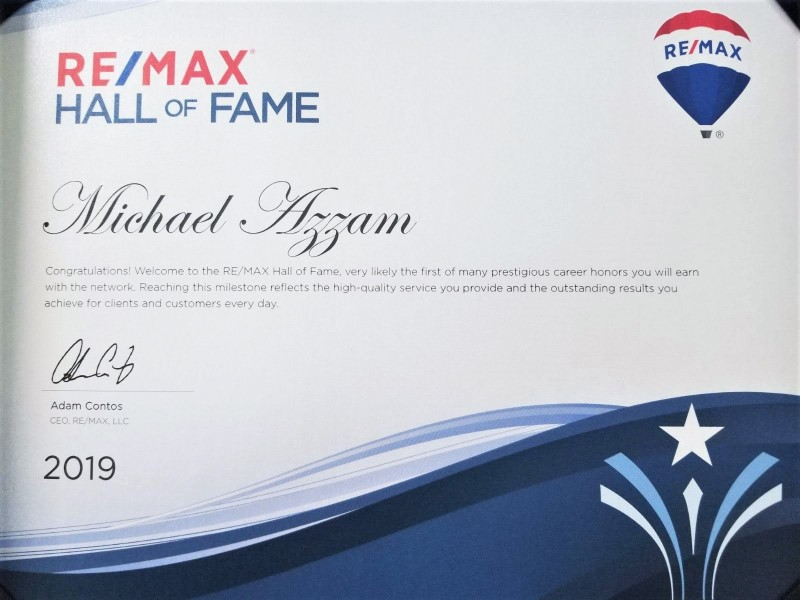 RE/MAX Hall of Fame - 2019 - Michael Azzam - RE/MAX Haven Realty - Cleveland, Ohio