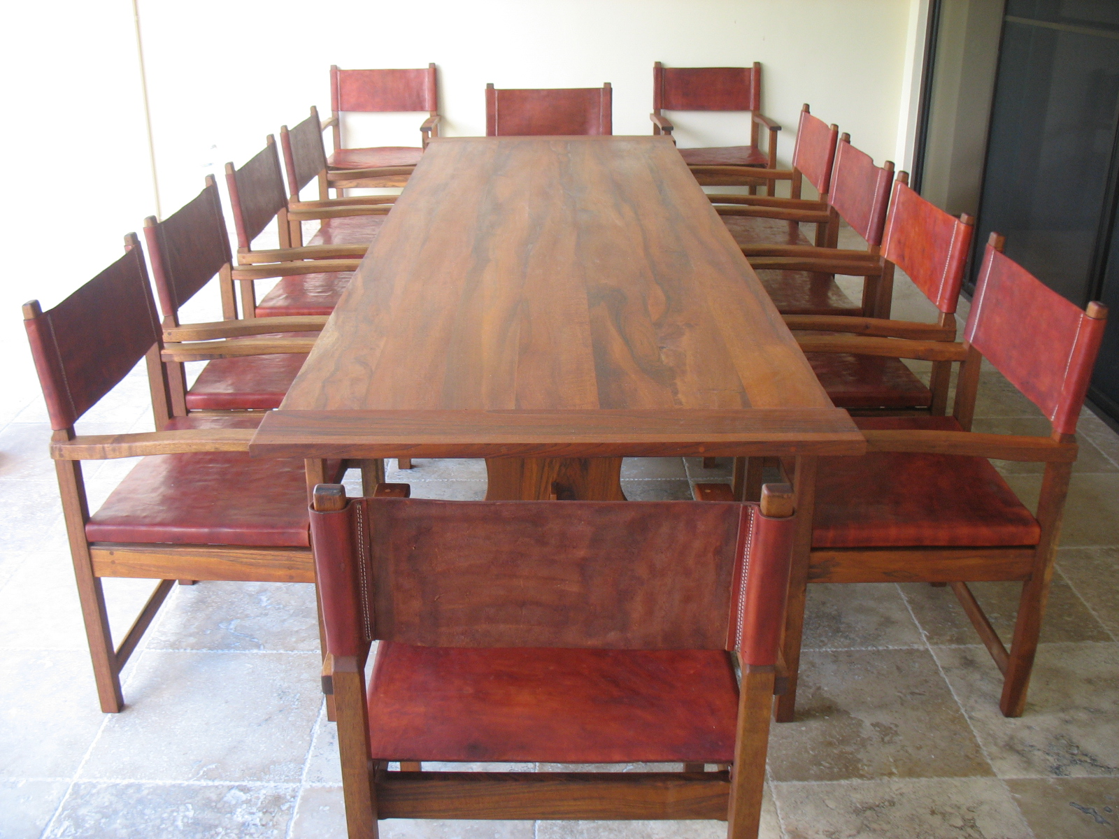 Dining Set, tabaco wood and raw leather