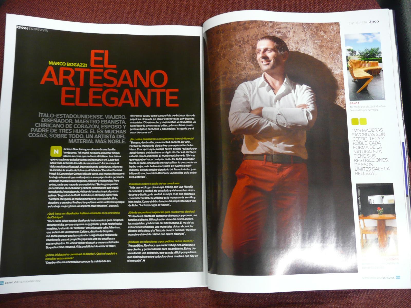 Espacios Magazine, August, 2012