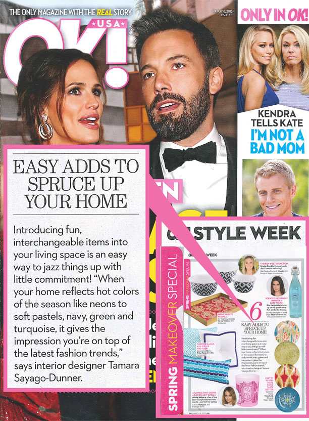 OK MAGAZINE MARCH 2013 - Guest column on home accessories.