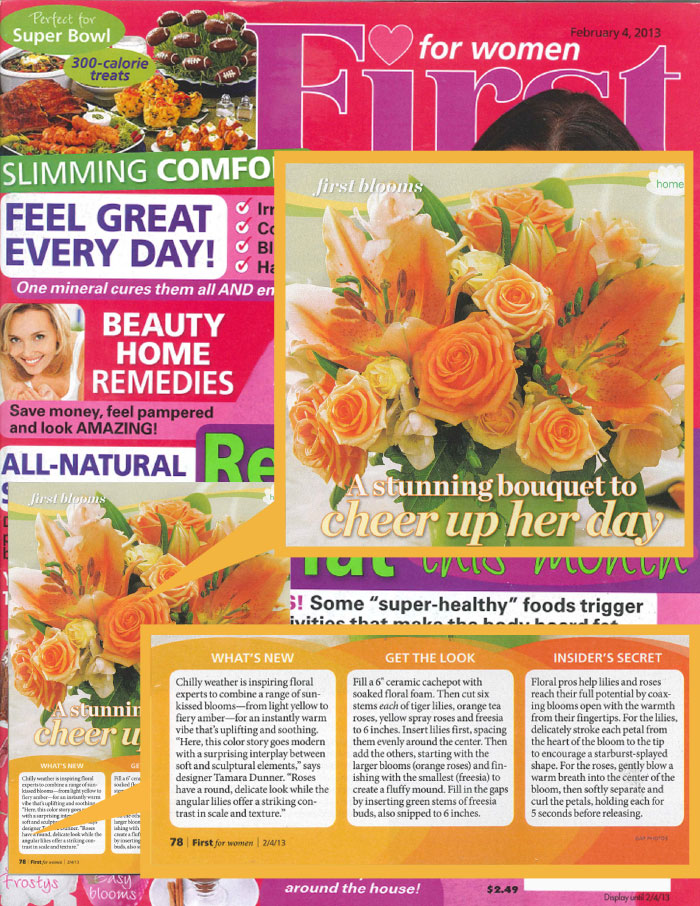 FIRST FOR WOMEN 2013 - Guest feature on winter floral arrangements.