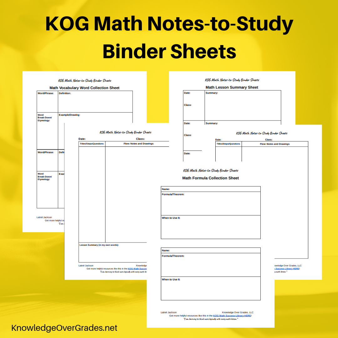 - Use the Vocab Collection Sheet of my printable KOG Math Notes-to-Study Binder Sheets. There you can define the word, draw an example, use it in a sentence and record the etymology.You'll also get 6 other templates to help you organize your math notes, and even arrange study groups.