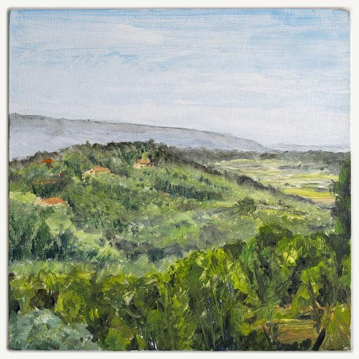 Alla Prima oil sketch from my balcony in Roussillon,Provence.
