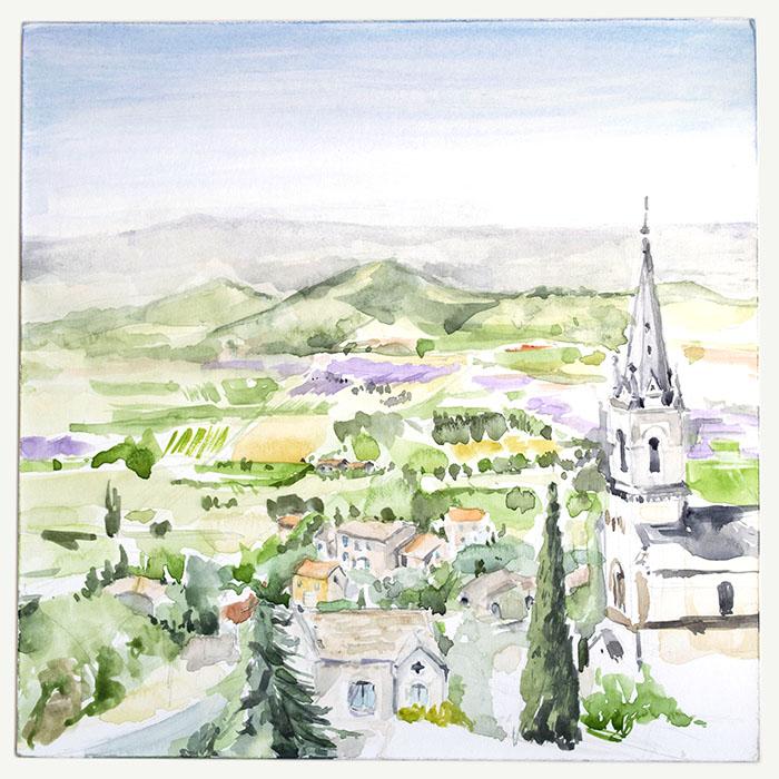 Watercolour of Bonnieux, Provence