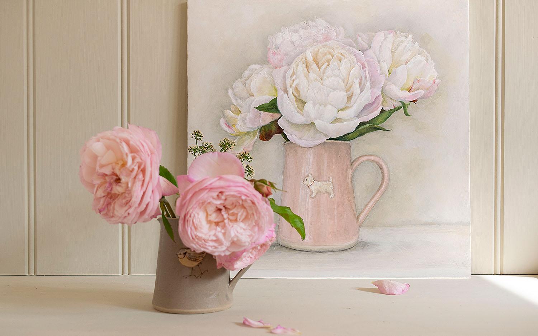 Westie jug filled with Gardenia Peonies – still life oil original painting