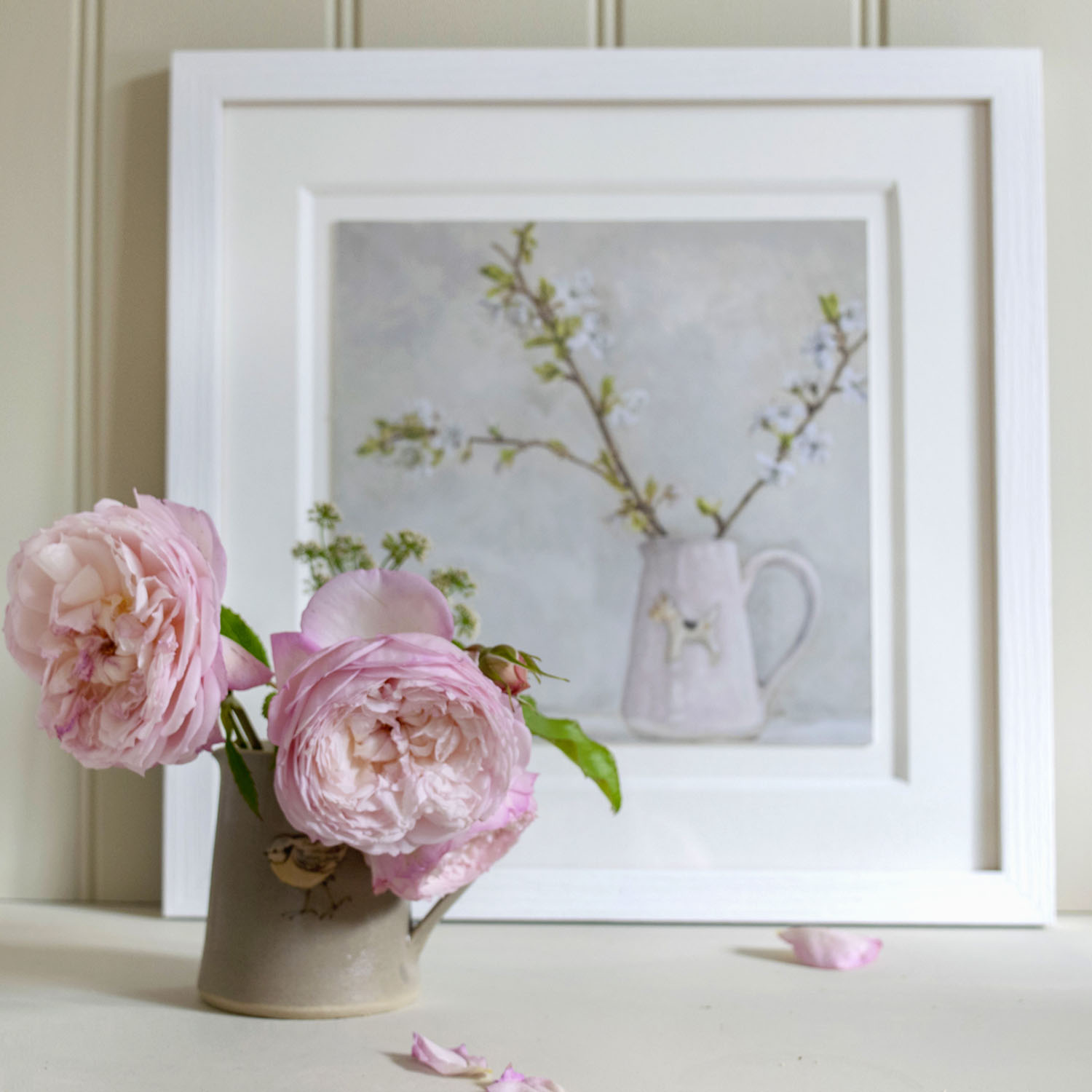Wire Haired Fox Terrier on Pink Jug with Spring Blossom in Cottage Frame