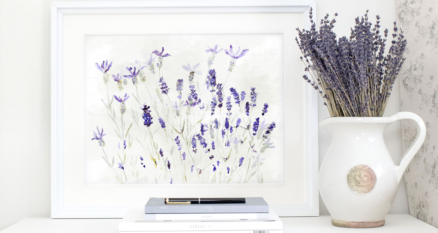Lavender painting and Peony and Sage fabric
