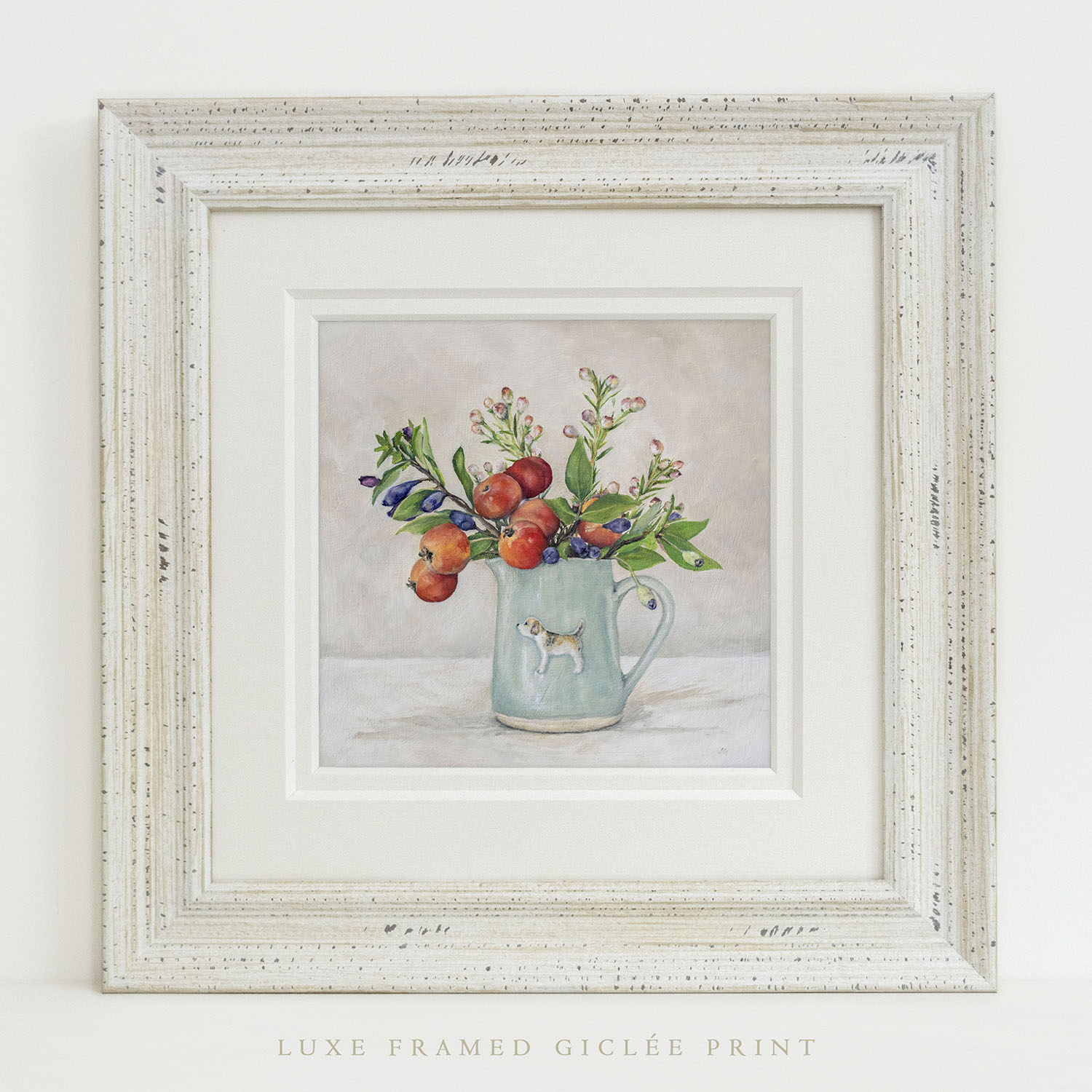 Luxe Framed Giclée Print of Hogben Pottery's Beagle jug in Eau-de-Nil